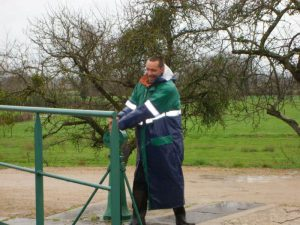 The lock keeper during a wet easter