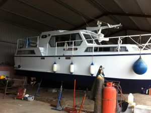 Finished painting the boat