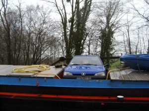 A wet easter and a car on the barge